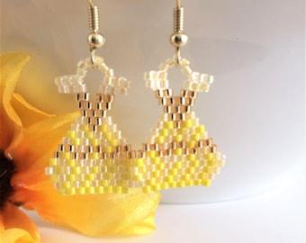 Gown Earring - Summer Earrings - Seed Bead Earrings - Beaded Earring - Summer Jewelry - Beaded Jewelry - Gown Earrings - Dress Earring