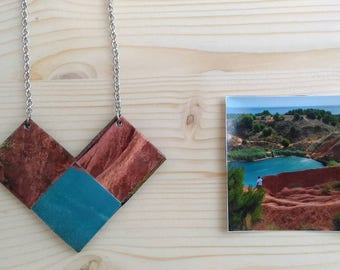 Long necklace made from recycled paper taken from an image of Salento
