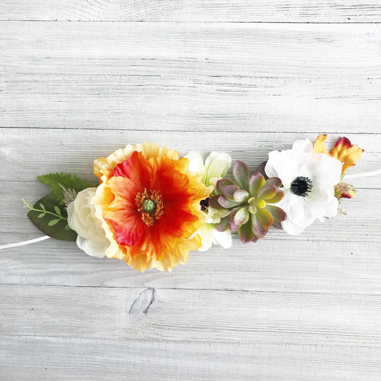 Fall Flower Crown Succulent Flower Crown First Birthday Flower