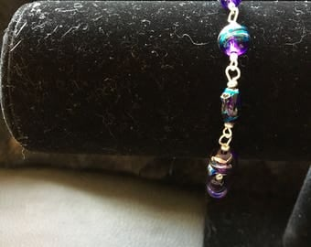 Blue Bead and Silver Link Bracelet
