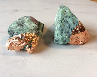 Pair of Ruby in Zoistite with Rose Gold Accents