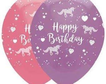 Unicorn Balloons, Pretty Printed Happy Birthday Unicorn Balloons in Pink & Lilac, Unicorn Party, Unicorn Decorations, Pkt of 6 Balloons