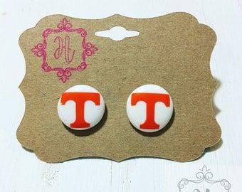 Tennessee Earrings Tennessee Vols Earrings Tennessee Jewelry Tennessee Stud Earrings Vols Earrings Tennessee Football Earrings Vols for life