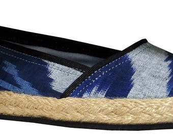 beautiful handmade uzbek natural leather silk ikat shoes ESPADRILLES from uzbekistan