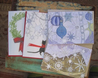 Pack of 8 Holiday Cards 4 Designs by Laura Sharp Wilson