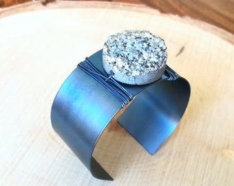 Titanium blue Druzy Silver Cuff Bracelet
