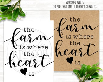 Wall Art - Printable Art - The Farm Is Where the Heart Is- Digital File