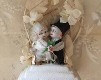 Vintage Kewpie Bride and Groom Bisque Wedding Cake Topper