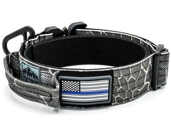 Thin Blue Line Collar - Military Style Dog Collar with Cobra Buckle and Handle
