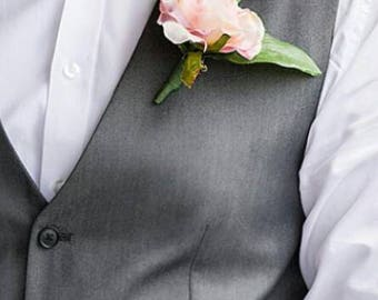 Pink rose boutonniere for groom and groomsmen