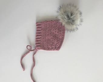 Crochet Pixie Hat With Fur Pom | Pom Pom Hat | Vintage Hat