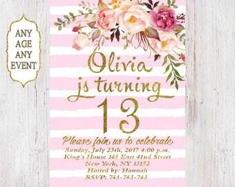 Floral birthday invitation 13th birthday invitations girl pink stripes gold glitter, 14th,15th,16th,17th,18th,19th, Any Age 017