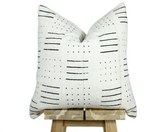 Mudcloth Pillow Cover, African Mud Cloth, Authentic Mud Cloth Pillow | Cream & Black | 'Nneka'