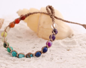 Rainbow chakra bracelet/ child's anklet - semi precious beads for teenagers - Gemstone beach wear for children and ladies
