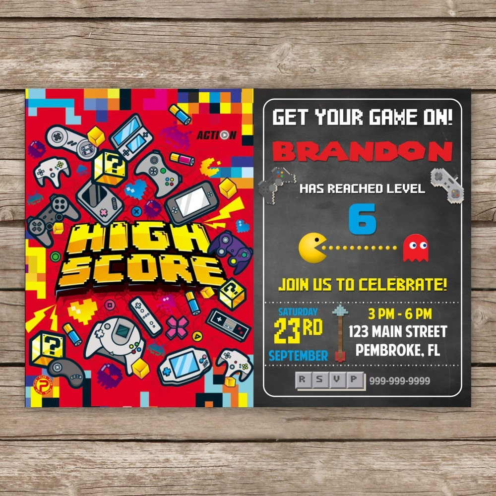 Video Game Birthday Invitation Gaming Party Invitation Video Game