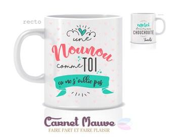 """CADEAU NOUNOU mug personnalisé """"une nounou comme toi..."""" - idée cadeau nounou"""