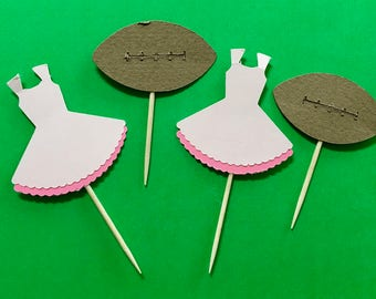 Touchdowns or Tutus Cupcake toppers