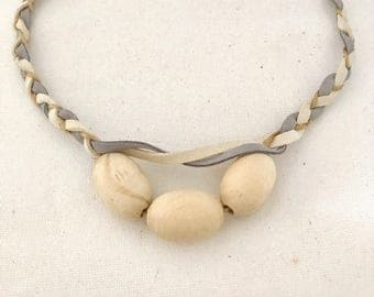 Plaited Natural Wood Beaded Necklace