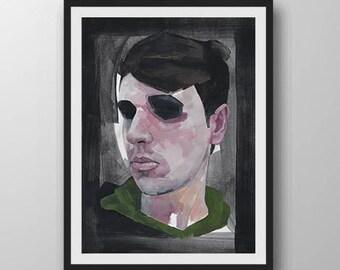 "Self Portrait Oil Painting Print 10X8"""