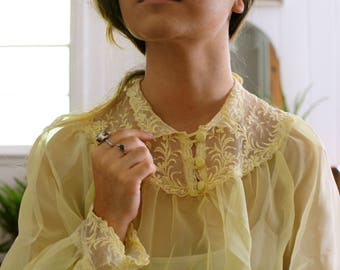 Vintage Yellow Sheer and Embroidered Cropped Blouse