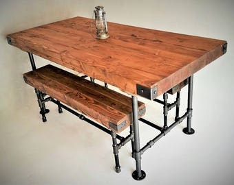 Customize this Rustic Industrial Dining Table & Bench Set, Steel Pipes, Thick Butcher Block Wood, Steampunk Pub Dining Set