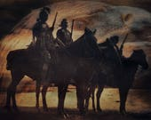 Fine Art Print  of 'Custer's Crow Scouts'. Native American Indian. American West, landscape, eagle, horse rider, wall decor, JoWalshArt