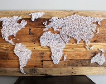 World map in string art string art world map world map string art rustic wood sign travel decor artwork map art decor gumiabroncs Gallery