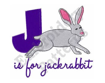 J Is For Jackrabbit - Machine Embroidery Design