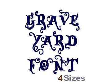 Graveyard Curl Font - Machine Embroidery Font