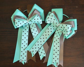 New turquoise and brown horse show bows!