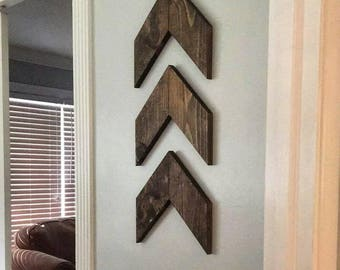 Set of three wooden arrows