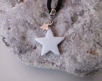 Star and Suede Necklace - White, Silver, Black - Tendance Rock