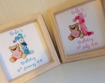 Baby's First Birthday button art, Framed Personalised 1st Birthday button art, nursery art, baby memory keepsake, Birthday Keepsake