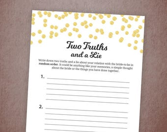 Two Truths and a Lie Game Printable, Gold Glitter Confetti Bridal Shower, Bachelorette Party Games, Wedding Shower Truth and Lie, A001
