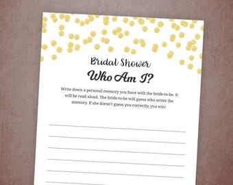 Who Am I Bridal Shower Game Printable, Gold Confetti Memory With the Bride Game, DIY Bachelorette Party Games, Instant Download, A001
