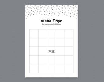 Empty Bingo Cards, Bridal Shower Games Printable, Silver Black Dots Glitter, Party Games, Bachelorette Party Games, Wedding Shower, A020