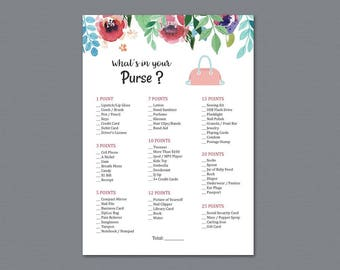 Whats in Your Purse Game Printable, Purse Raid, Purse Hunt Game, Watercolor Floral, What's in Your Bag, Bridal Shower Games Activity, A007