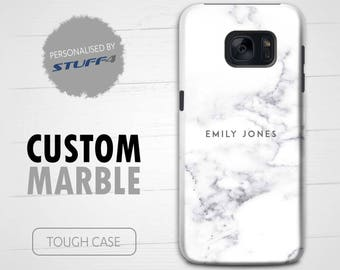 Personalised Custom Marble Phone Case for Samsung Galaxy S7 Edge/S6/S5/S4 Mini Plus/Pearl Stamp/Personalized Tough Cover Name/Initial