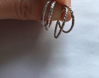Large silver twist ring