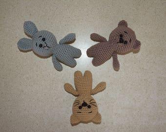 Crochet toy animal Bear Bunny Cat Handmade toy Crochet bunny Crochet cat Crochet bear Crochet stuffed toy