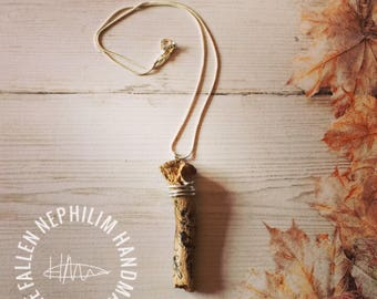 Natural Wooden Pendant & Necklace made to look like my Bone Selection, Little Bird on a Branch, Wire Wrapped with Silver Plated Chain, Gift