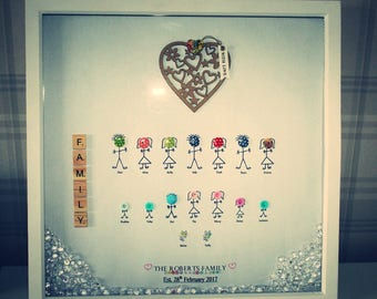 Family Tree 3-D Box Button Frame