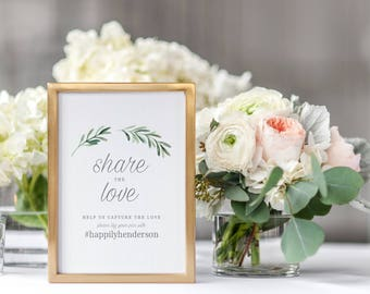 Share The Love Hashtag Sign, Instagram Sign Template, Wedding Hashtag Sign, Printable Instagram Sign, Hashtag Sign Printable - KPC02_310