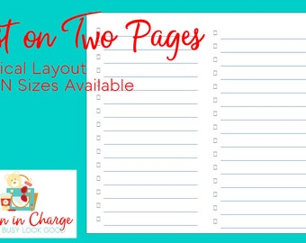 Printable B6 Size List Traveler's Notebook Insert