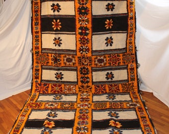 Moroccan Rug Large Orange Flower