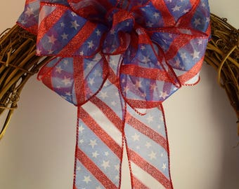 Red, White and Blue Glitter Bow, Patriotic Bow, 4th of July Bow, Memorial Day Bow, Summer Bow, Decorative Bow, Wreath Bow, Basket Bow,