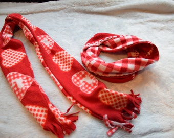 Christmas Value Pack Kids Red and White Long and Eternity Scarves with distressed Cotton Fleece Boys and Girls Gift Size 5-10 years