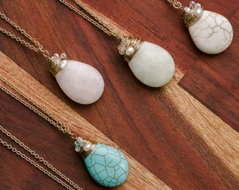 Natural Stone Pendant Necklace, Teardrop Pendant Necklace, Wire Wrap and pearl Long Necklace, 5 colors, Semi precious, Rose quartz, Jade