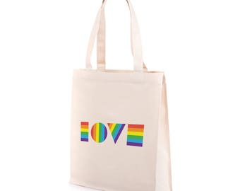 LGBTQ Love Tote Bag | Recycled Canvas Tote | Gay Pride Tote Bag | Gay Pride Bag | Equality March Bag | Gay Pride Tote | LGBT Bag | LGBT Tote