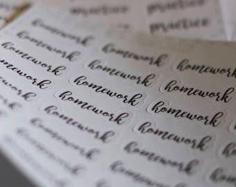 Homework Typography Planner Stickers